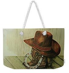 Weekender Tote Bag featuring the drawing Western Wares by Terri Mills