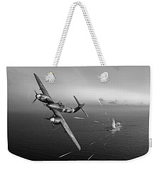 Weekender Tote Bag featuring the photograph Westland Whirlwind Attacking E-boats Black And White Version by Gary Eason