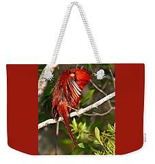 Wet Cardinal Weekender Tote Bag