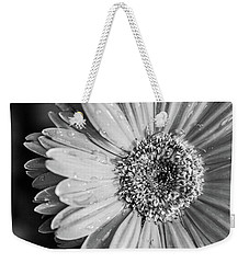 Weekender Tote Bag featuring the photograph Wet Daisy In Monochrome by SR Green