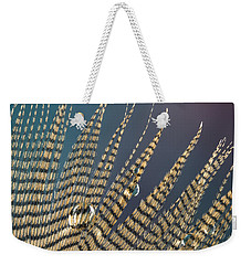 Wet Drop On Wood Duck Feather Weekender Tote Bag
