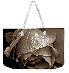 Wet Rose In Sepia Weekender Tote Bag