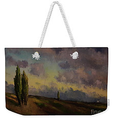 Weekender Tote Bag featuring the painting Wet Sky by Maja Sokolowska