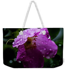 Weekender Tote Bag featuring the photograph Wet Wild Rose by Darcy Michaelchuk