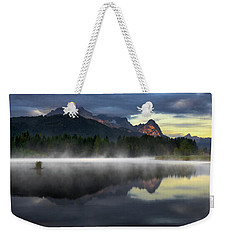 Wetterstein Mountain Reflection During Autumn Day With Morning Fog Over Geroldsee Lake, Bavarian Alps, Bavaria, Germany. Weekender Tote Bag