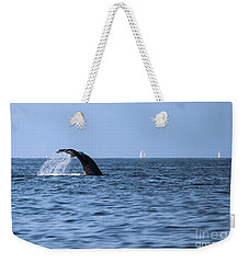 Weekender Tote Bag featuring the photograph Whale Fluking by Suzanne Luft