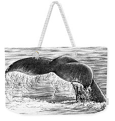 Weekender Tote Bag featuring the drawing Whale Tail by Heidi Kriel