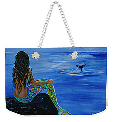 Whale Watcher Weekender Tote Bag by Leslie Allen
