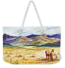 Weekender Tote Bag featuring the painting What Lies Beyond by Marilyn Smith