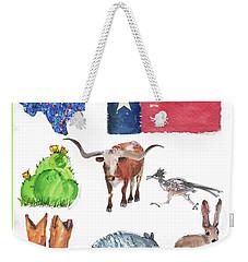 What Texas Loves, Texas Longhorn Watercolor Painting By Kmcelwaine Weekender Tote Bag
