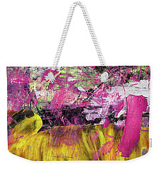Whatever Makes You Happy - Large Pink And Yellow Abstract Painting Weekender Tote Bag