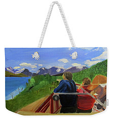 Weekender Tote Bag featuring the painting What's Out There? by Linda Feinberg