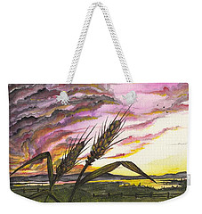 Weekender Tote Bag featuring the painting Wheat Field by Darren Cannell