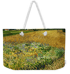 Weekender Tote Bag featuring the painting Wheat Field With Alpilles Foothills In The Background At Wheat Fields Van Gogh Series, By Vincent  by Artistic Panda