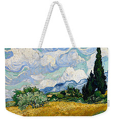 Weekender Tote Bag featuring the painting Wheatfield With Cypresses by Van Gogh