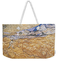 Weekender Tote Bag featuring the painting Wheat Field With Reaper Harvest In Provence by Artistic Panda