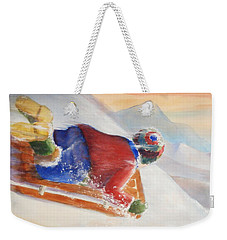Weekender Tote Bag featuring the painting Wheee by Marilyn Jacobson