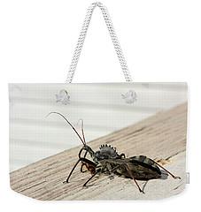 Wheel Bug With Prey Weekender Tote Bag by Kristin Elmquist