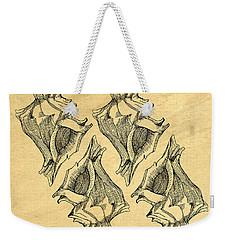 Weekender Tote Bag featuring the digital art Whelk Seashells Vintage by Edward Fielding