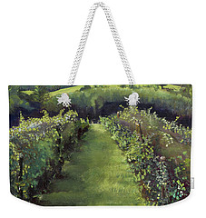 Weekender Tote Bag featuring the painting When The Vines Rest At Otts Farms And Vineyard by Jan Dappen