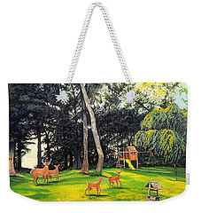 Weekender Tote Bag featuring the painting When World's Collide by Kevin F Heuman