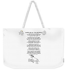 Weekender Tote Bag featuring the drawing Where Are All The Unicorns by John Haldane