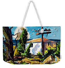 Weekender Tote Bag featuring the painting Where I Will Be Double Matted And Plexi-glass Metal Framed by Charlie Spear