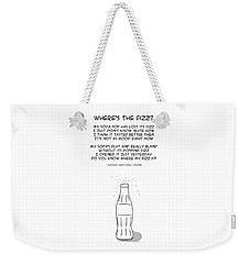 Weekender Tote Bag featuring the drawing Where Is The Fizz by John Haldane