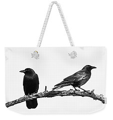 Which Way Two Black Crows On White Square Weekender Tote Bag