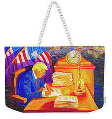 While America Sleeps - President Donald Trump Working At His Desk By Bertram Poole Weekender Tote Bag by Thomas Bertram POOLE