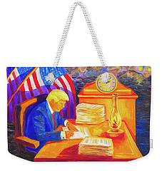 While America Sleeps - President Donald Trump Working At His Desk By Bertram Poole Weekender Tote Bag