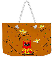 Whimsical Autumn Colors - Birds Owls Weekender Tote Bag