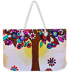 Weekender Tote Bag featuring the painting Whimsical Blooming Tree by Pristine Cartera Turkus