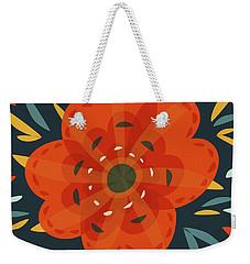 Whimsical Decorative Orange Flower Weekender Tote Bag