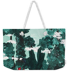 Weekender Tote Bag featuring the painting Whimsical Wintry Trees by Karen Nicholson