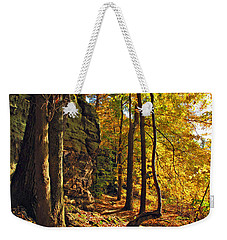 Weekender Tote Bag featuring the photograph Whipp's Ledges In Autumn by Joan  Minchak