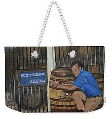 Weekender Tote Bag featuring the painting Whiskey Sleeping by Jan Dappen