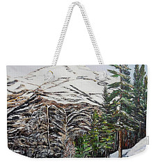 Weekender Tote Bag featuring the painting Whispering Pines by Marilyn  McNish