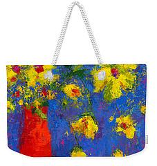 Abstract Floral Art, Modern Impressionist Painting - Palette Knife Work Weekender Tote Bag