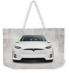 White 2017 Tesla Model X Electric Car Front View Weekender Tote Bag