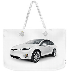 White 2017 Tesla Model X Luxury Suv Electric Car Isolated Weekender Tote Bag