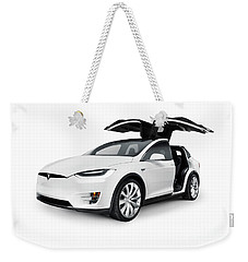 White 2017 Tesla Model X Luxury Suv Electric Car With Open Falco Weekender Tote Bag