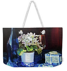 Weekender Tote Bag featuring the painting White African Violets by Marlene Book
