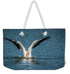 White American Pelican Weekender Tote Bag by Pamela Williams