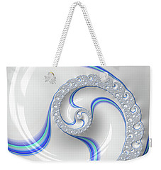 Weekender Tote Bag featuring the digital art White And Blue Spiral Elegant And Minimalist by Matthias Hauser