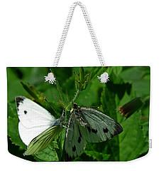 White And Grey Green Wings Weekender Tote Bag