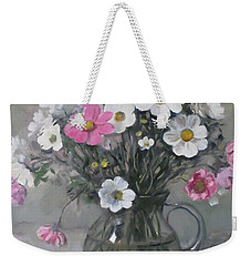 White And Pink Cosmos Bouquet In Water Pitcher No. 2 Weekender Tote Bag