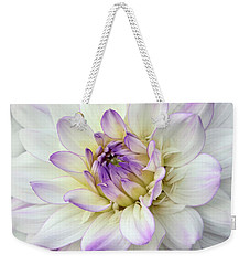 White And Purple Dahlia Weekender Tote Bag