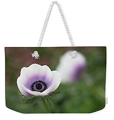 White And Purple Weekender Tote Bag by Rebecca Cozart