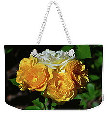 White And Yellow Rose Bouquet 001 Weekender Tote Bag by George Bostian